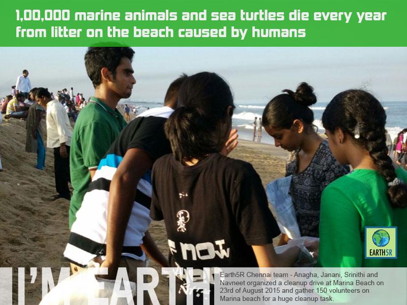 Marina Beach Clean-up at Chennai by Earth5R