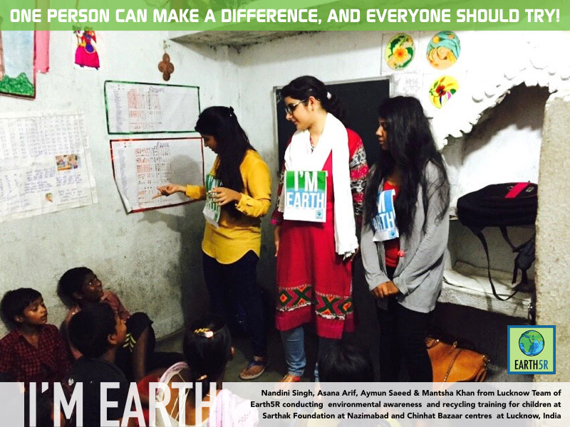 Recycling workshop for children by Lucknow Earth5R