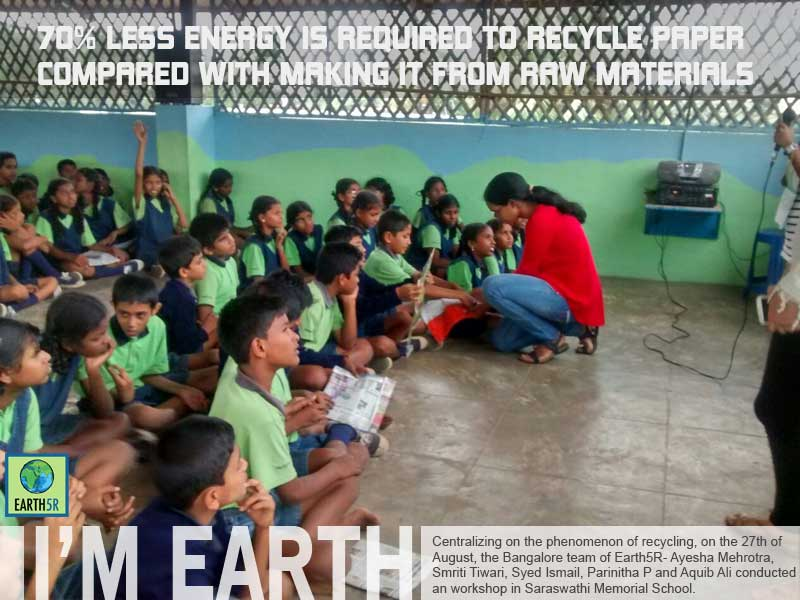 Recycling workshop by Earth5R Banglore: Sarswathi Memorial School