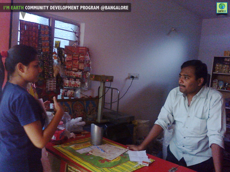 Waste management awarness for shopkeepers at Belthur colony, Bangalore