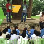 Educating children and plantation at Gandhinagar