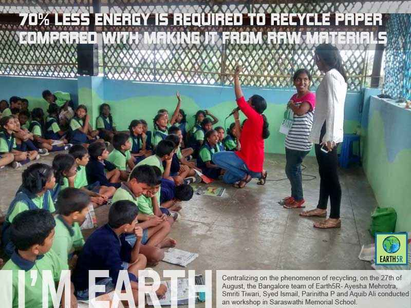Children Recycling Workshop Bangalore Mumbai India Environmental NGO Earth5R