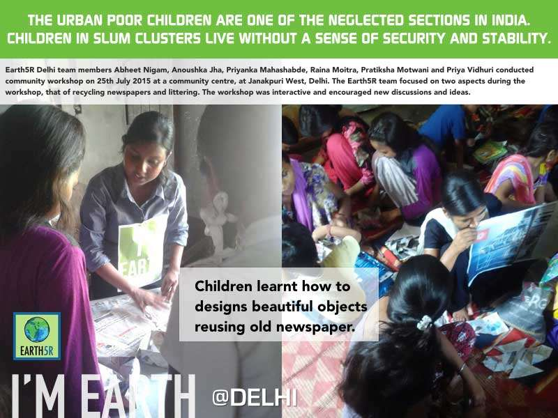 Delhi Community Workshop Upcycling Children Mumbai India Environmental NGO Earth5R
