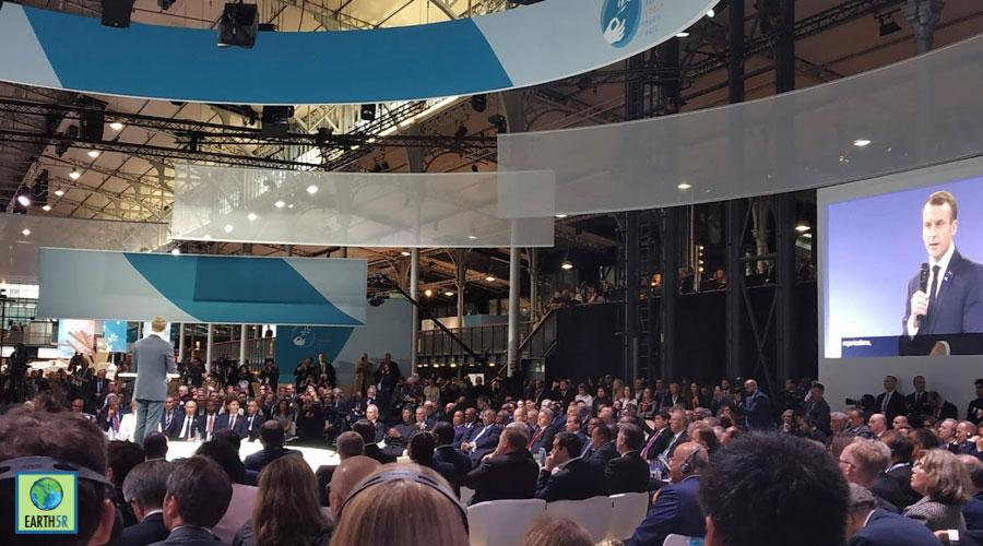 French president Emmanuel Macron opening up the speech Mumbai India Environmental NGO Earth5R