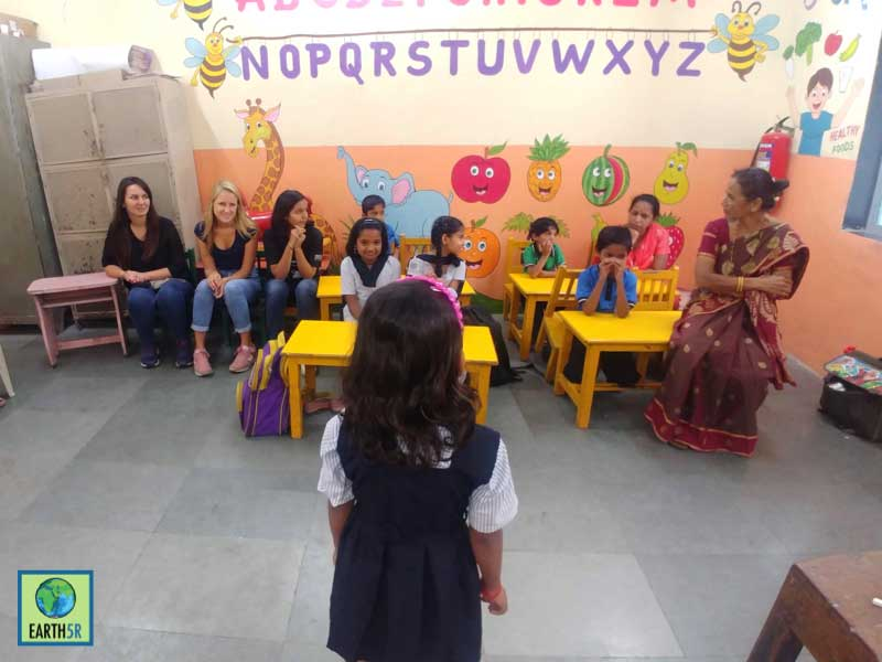 Future young leader motivating her friends segregate waste Mumbai India Environmental NGO Earth5R