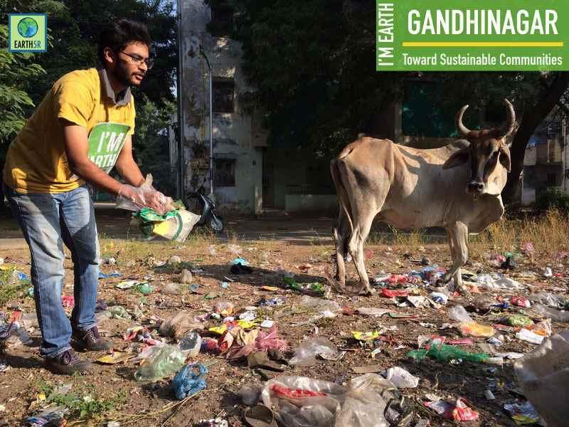 Gadhinagar Cleanup Drive Volunteer Earth5R Mumbai India Environmental NGO