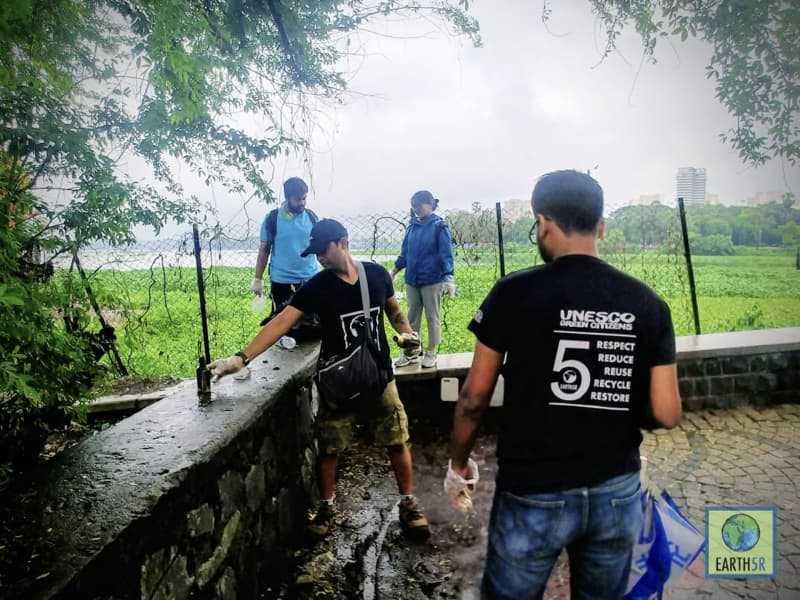 Lake Cleanup Recycling Mumbai India Environmental NGO Earth5R Volunteer