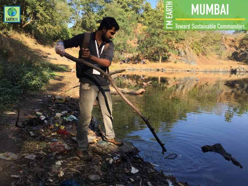Lake Cleanup Volunteer Community Development Mumbai India Environmental NGO Earth5R