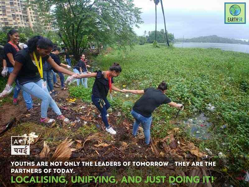 Lake Cleanup waste segregation Mumbai India Environmental Organisation Earth5R Saurabh Gupta Environmentalist