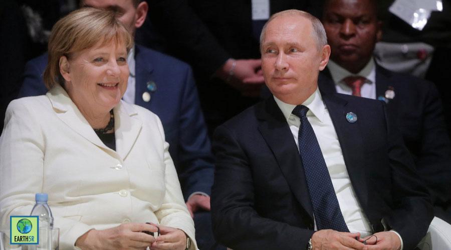 Russian President with german chancellor Angela Merkel Mumbai India Environmental NGO Earth5R