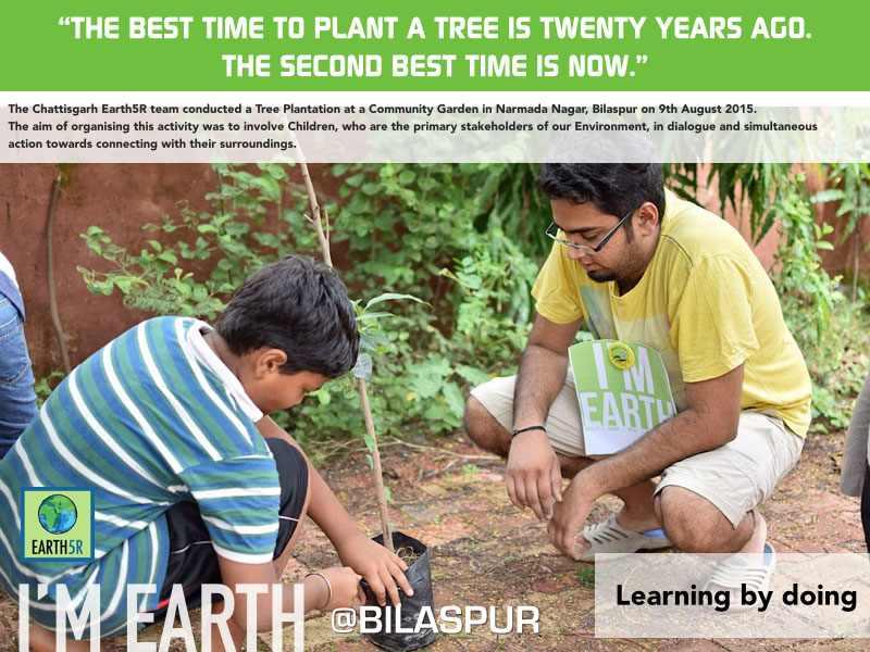 Tree Plantation Bilaspur Sanchit Soni Volunteer Mumbai India Environmental NGO Earth5R