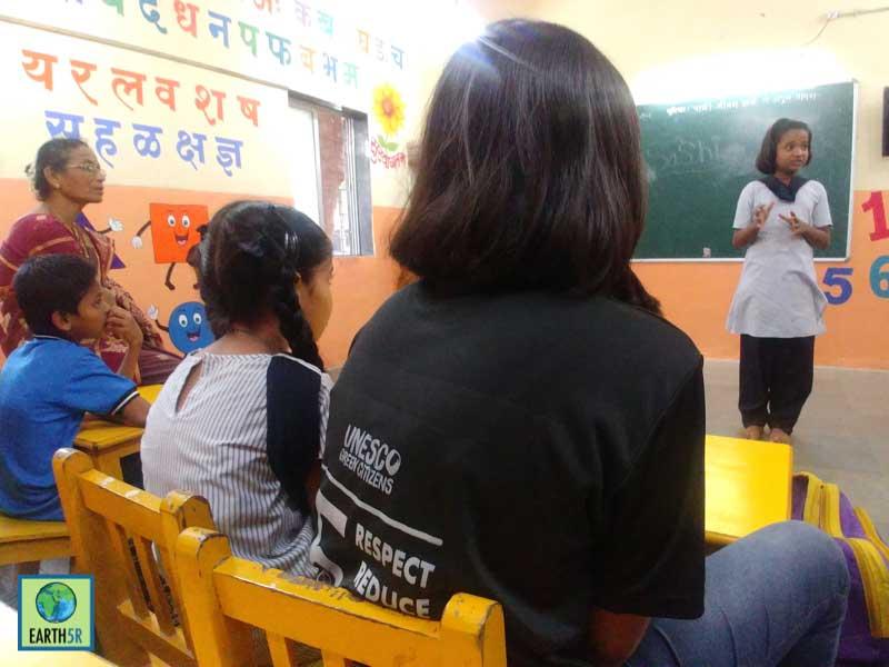 spreading awareness school children Mumbai India Environmental NGO Earth5R