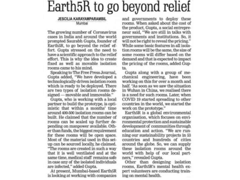 Earth%R to go beyond relief- Earth5R- Environmental NGO- Mumbai, India